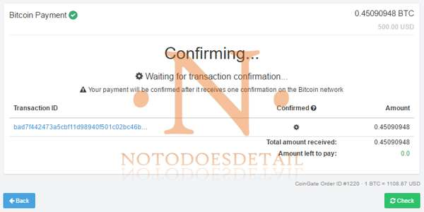 Confirmando pago con Bitcoin - NOTODOESDETAIL